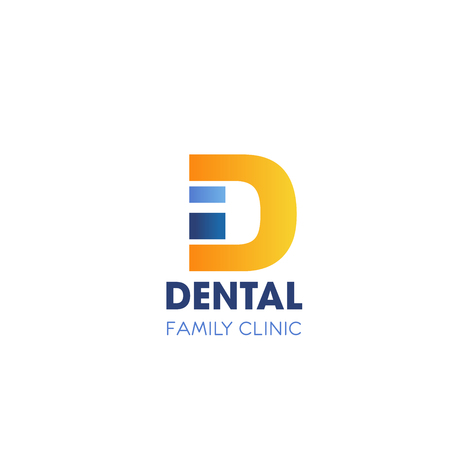 Letter D icon for dental family clinic or stomatology medical center design. Vector letter D for dentist office or dental surgery or dentistry pharmacy company corporate design Illustration
