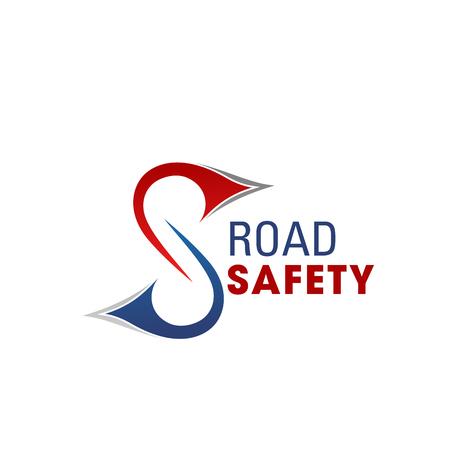 Icône de la lettre S pour l'alliance mondiale de la sécurité routière et de la réparation des autoroutes ou l'entreprise de construction de transport. Symbole de ligne de déroute vectorielle de la lettre S pour la construction de tunnels routiers et de routes de transport