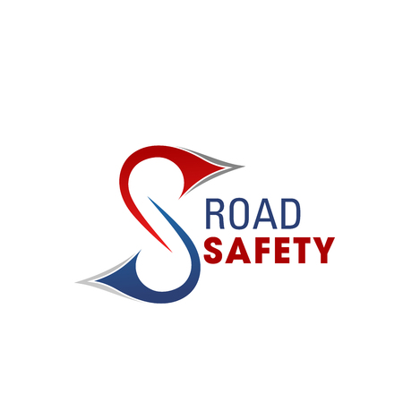 Letter S icon for road safety and highway repair global alliance or transportation construction company. Vector rout line symbol of letter S for roadway tunnel and transport roads building
