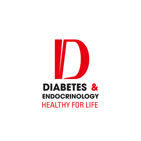 Vector sign concept of diabetes and endocrinology, healthy for life. Symbol of treatment of diabetes, endocrinology disease. Creative badge for medical and diagnostic center or hospital