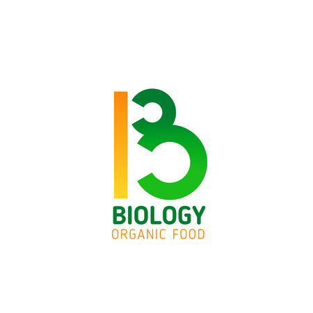 Letter B icon for organic food production or trade company corporate identity design. Vector green biology circles symbol of letter B for vegan and vegetarian nutrition industry or farm market