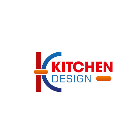 K letter icon for kitchen and home interior design studio or advertising and designer agency. Vector geometric letter K symbol for house planning design company or designers art classes and workshop