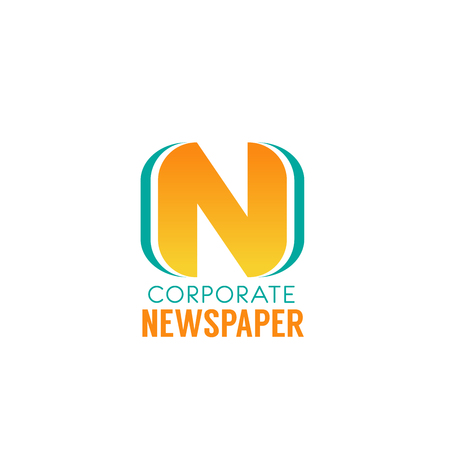Letter N icon for corporate newspaper portal or media group and daily news publishing house. Vector page symbol of letter N for digital media or social network web application design