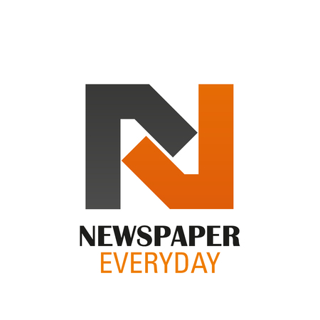 Vector icon for newspaper. Everyday newspaper vector design in orange and brown colors. Latest news or periodical concept. Creative badge for E-Newspaper isolated on white background