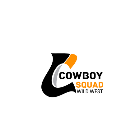 Letter C icon for cowboy squad or wild west concept police or sport team. Vector horse horseshoe symbol of letter C for equestrian races or polo game or competition club