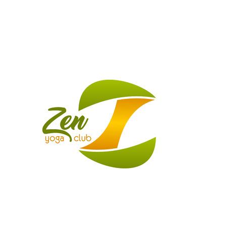 Zen Yoga Club Vektorzeichen. Buntes Vektoremblem für Yogastudio oder Club. Konzept der Meditation und Entspannung. Abstraktes Abzeichen Wellness-Center oder Yoga-Club, isoliert auf weißem Hintergrund Vektorgrafik