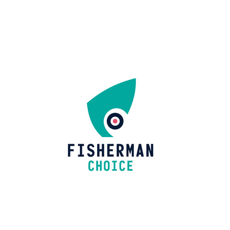 Letter F icon for fisherman tackles store or seafood fresh shop and fishing brand name design. Vector fish head abstract letter F for gourmet restaurant or fishery farm market Illustration