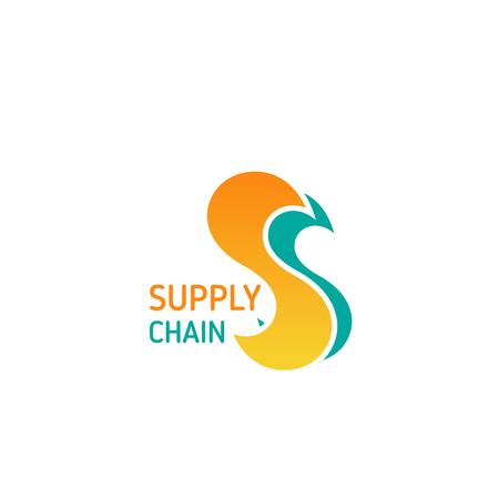 Łańcuch dostaw wektor ikona na białym tle na białym tle. Koncepcja obsługi logistycznej i dostawczej. Symbol strategii dystrybucji i biznesu transportowego, dostawa ładunków