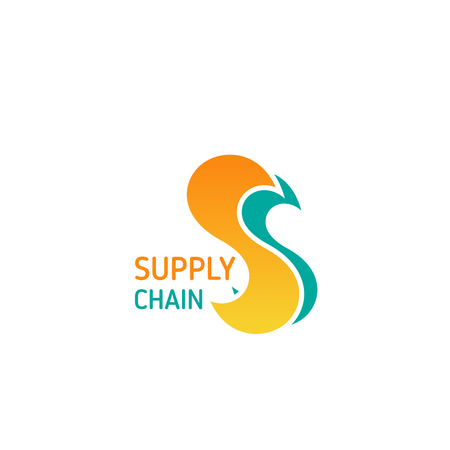 Supply chain vector icon isolated on a white background. Concept of logistic and delivery service. Symbol of distribution strategy and transportation business, cargo delivery