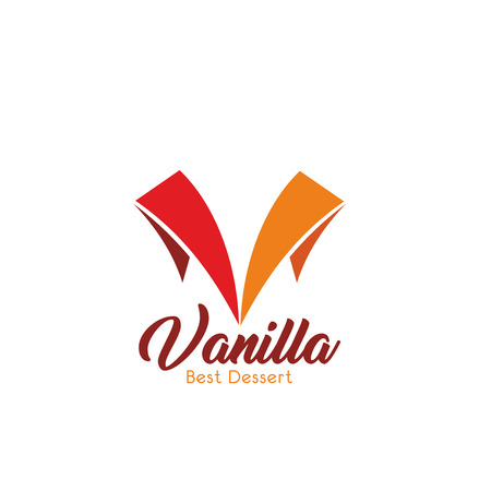 Letter V icon for dessert shop or pastry and cafeteria sign design. Vector letter V in color flags for sweet vanilla cake patisserie store or bakery, premium cafe and coffeeshop