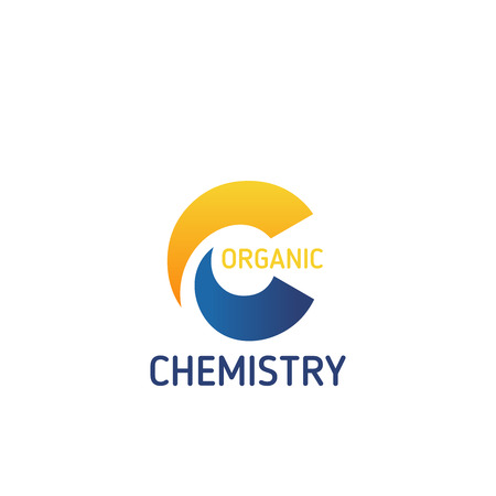 Organic chemistry vector sign. Laboratory research technology concept. Organic bio laboratory vector emblem. Chemistry laboratory badge in yellow and blue colors, isolated on white background Illustration