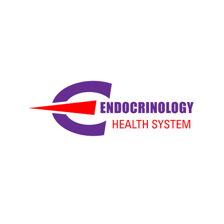 Endocrinology health system vector sign. Thyroid disease or internal organs problems concept. Abstract vector for medical clinic. Vector emblem for endocrinology hospital
