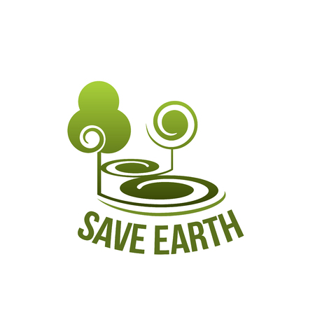 Save Earth concept vector icon isolated on white background. Concept of saving planet and ecology, environment care symbol. Vector badge with green trees for protection of nature organization