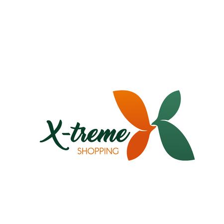 Buchstabe X-Symbol für extreme Einkaufs- oder Verkaufsrabatte und Einkaufszentren für Modebekleidung. Vektorblumensymbol im Buchstaben X für Premium-Shops netto oder Boutique- und Outlet-Markenladen Vektorgrafik