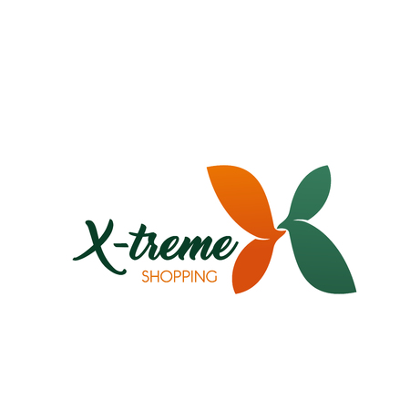 Letter X icon for extreme shopping or sale discount and fashion clothing trading malls. Vector flower symbol in letter X for premium shops net or boutique and outlet brand store
