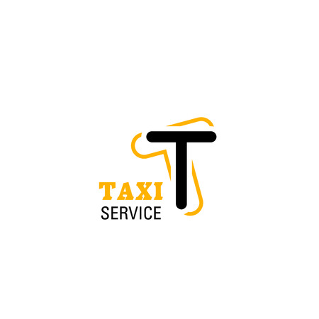 Taxi service vector sign. Modern vector taxi cab yellow emblem. Taxi business vector badge. Creative design for taxi service branding. Black and yellow colors vector sign, isolated on white Çizim
