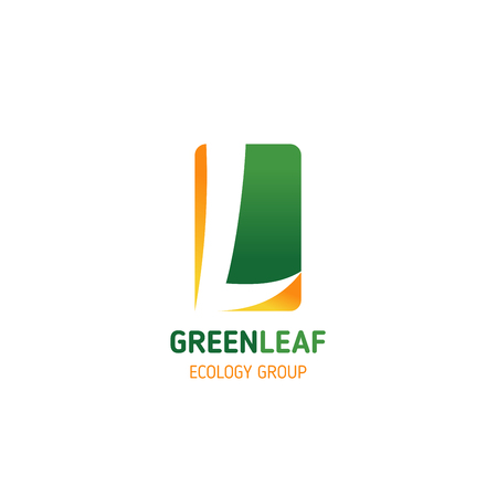 Letter L icon for ecology group or green eco nature protection and environment conservation. Vector green leaf symbol in letter L for clean earth and save planet project concept
