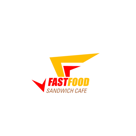 Letter F icon for fast food sandwich cafe or fastfood restaurant design. Vector geometric arrow symbol of letter F for burger or cheeseburger street food or cinema bistro Vecteurs