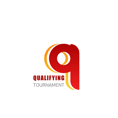 Q letter icon for sport championship or tournament qualifying board badge. Vector Q letter for fitness club or sport gym and athletics club or workout training center design