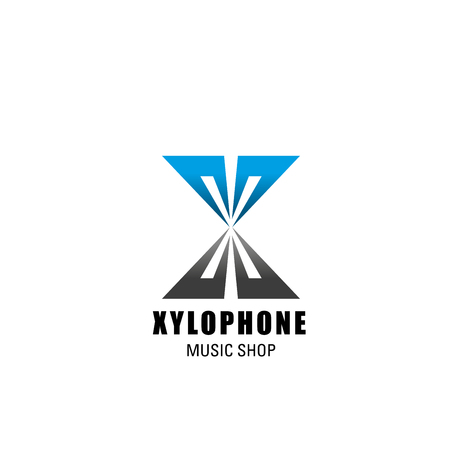 Letter X icon for music shop or musical instruments store design. Vector letter X in xylophone symbol for music school or singing education and recording production company Çizim