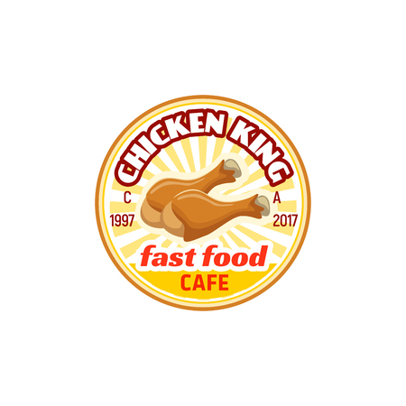 Chicken king fast food cafe vector icon isolated on white background. Street food cafe or restaurant vector badge. Symbol of meat dish and unhealthy food, emblem for hot menu