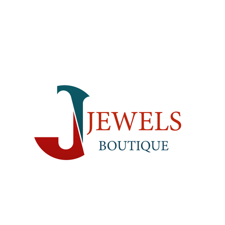 Letter J icon for jewelry and jewel fashion accessories boutique. Vector letter J symbol for luxury silver, gold and diamonds jewelry luxury premium brand shop or bijouterie salon design Illustration