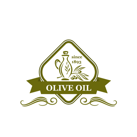 Olive oil vector emblem. Creative design with olive branch and jar or pot. Design element for organic oils manufacturer. Green icon isolated on white background. Agricultural vector sign Standard-Bild - 114195871