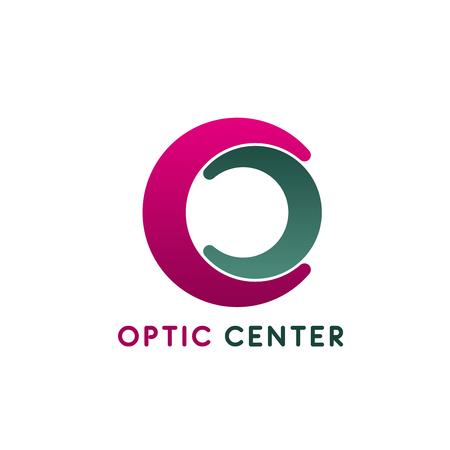 Optik-Center-Vektor-Symbol isoliert auf weißem Hintergrund. Konzept des Diagnosezentrums für Augenheilkunde, medizinische Klinik. Kreatives Abzeichen für Brillengeschäft oder Sehkorrekturklinik