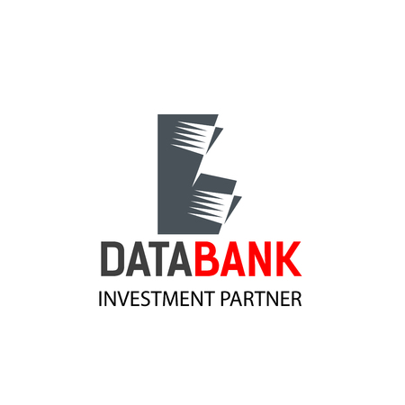 Data bank investment partner vector sign. Creative emblem for hosting companies or storage space companies. IT services or data center vector badge isolated on white background