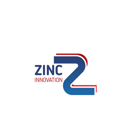 Letter Z icon for zinc extraction or production industry and heavy metals corporation. Vector metallic line symbol of letter Z for metallurgy or power plant and energy factory design