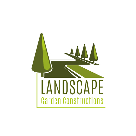 Landscape sign for gardening business. Vector symbol of landscape garden constructions. Vector sign for landscape design company. Creative design for horticulture business. Emblem with green trees Stock Illustratie
