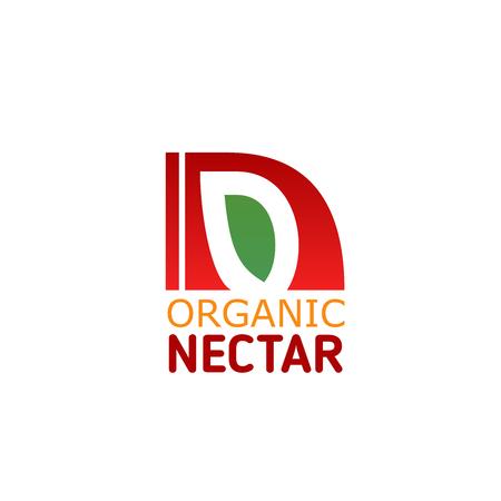Letter N icon for fruit juice or beverage drink production company. Vector fruit leaf symbol of letter N for farm market shop or organic natural food package design and healthy nutrition