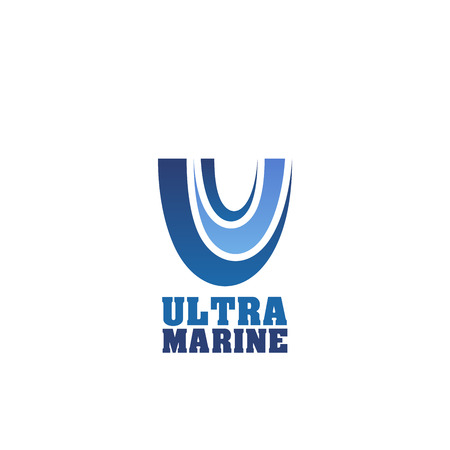 Ultra marine abstract vector sign. Creative emblem in blue color for any company, sea or ocean concept. Aquatic and water concept. Vector design badge isolated on white background