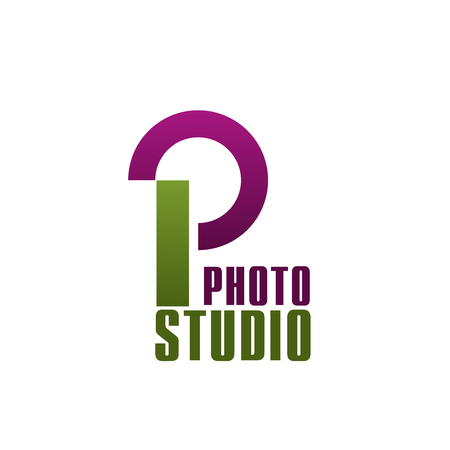 Letter P icon for photo studio or professional photography workshop and master class. Vector isolated letter P for photo shooting study and photographer salon or laboratory 向量圖像