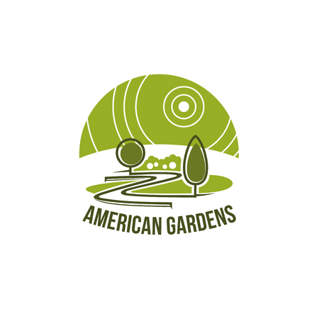 Gardens landscape association icon of green trees forest or park square for landscaping design company or eco environment concept design. Vector park trees or urban ecology garden horticulture Stock Illustratie