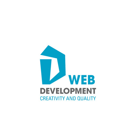 D letter icon for web design development or creativity and quality studio. Vector geometric symbol of letter D for digital designing or web site programing and designers studio or internet agency