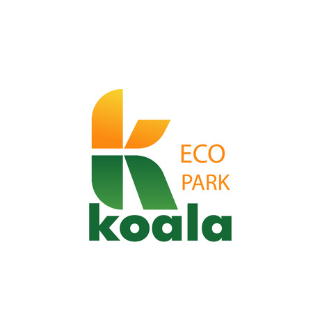 Letter K icon for eco zoo park or zoological park design. Vector eucalyptus leaf symbol of letter K for koala and exotic wild animals protection and care veterinary center