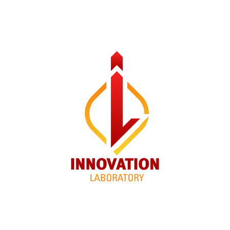 Letter I icon for innovation laboratory or technology research and development company. Vector I symbol for advertising agency, art and design idea studio or medical pharmacy