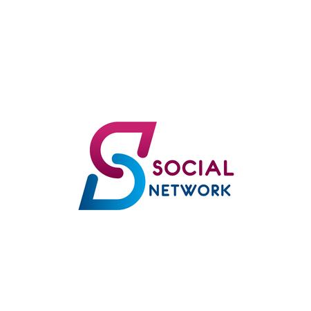 Icona della lettera S per social network o appuntamenti e progettazione di applicazioni di chat online. Simbolo piatto lettera vettoriale S per app web smartphone o concetto di comunicazione e innovazione digitale Vettoriali