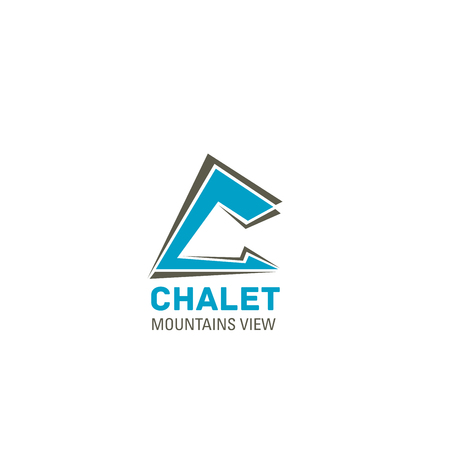 Letter C icon for chalet or hotel and mountain view resort sign design. Vector house or camp roof symbol of letter C for travel hostel or camping adventure team club in snow skiing or mountaineering Banque d'images - 114196037