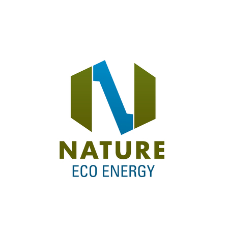Letter N icon for natural eco energy production company or power corporation. Vector isolated green and blue natural colors letter N for ecology, nature electricity source and recycling project