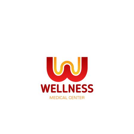 Icona della lettera W per il centro benessere dello studio sportivo fitness e il design della palestra di allenamento. Lettera vettoriale isolata W per negozio di marca di abbigliamento sportivo da palestra di atletica leggera o SPA e salone di cura della pelle
