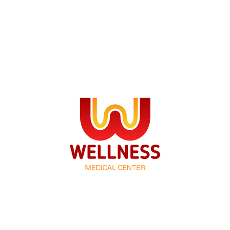 Letter W icon for wellness center of fitness sport studio and workout gym design. Vector isolated letter W for athletics gym sportswear brand store or SPA and skincare salon