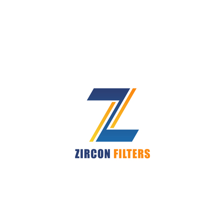 Zircon filters vector sign. Special filters for led lights. Creative badge for led light company, business branding. Professional photo and video equipment concept. Emblem isolated on white background