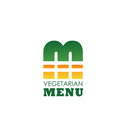 Letter M icon for vegetarian restaurant menu design or vegan cafe bistro sign. Vector veggie burger symbol in letter M for farm fresh and organic food production or healthy nutrition company