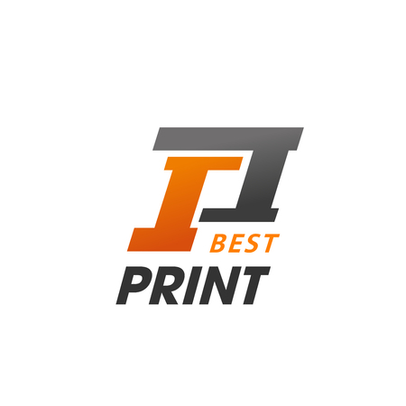 Best print abstract sign. Vector emblem for typography printing. Abstract colorful vector sign. Badge for photoprint company or printing studio, isolated on white background Illustration