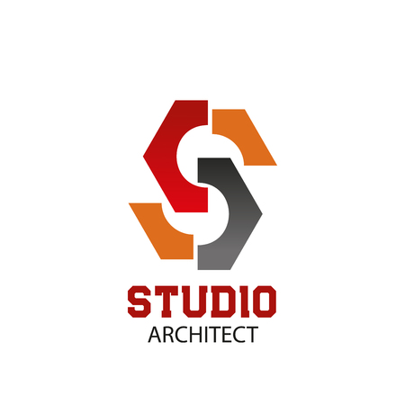 Letter S icon for architect studio of construction company or real estate design and planning. Vector geometric constructor letter S for industrial building corporation or interior design company