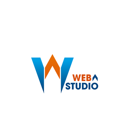 Web studio vector sign. Emblem for web design studio. Vector badge in orange and blue colors isolated on white background. Creative design for web development company. Sign for digital business Standard-Bild - 114196076