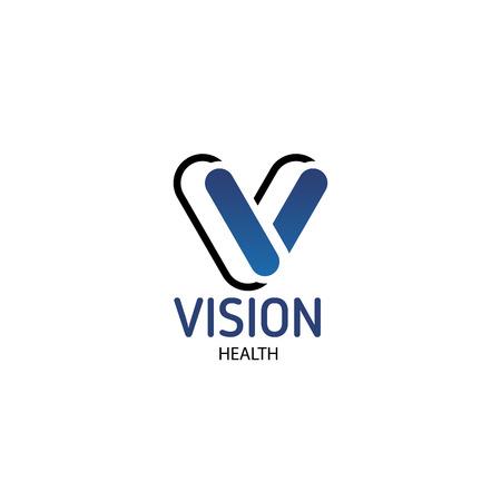 Salute della visione dell'emblema del vettore. Design creativo per clinica oculistica o clinica oftalmica. Oftalmologia e concetto di assistenza sanitaria. Segno di vettore creativo nel negozio di ottica di colore blu o nell'azienda di medicina