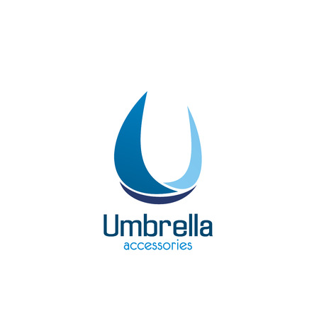 U letter icon for umbrella accessories shop or technical repair service center. Vector letter U in water drop blue symbol for handicraft industrial company or spare parts store